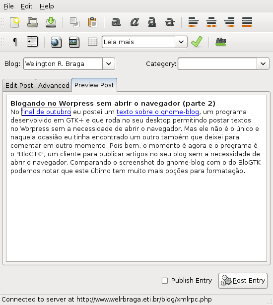BloGTK 1.1 - Cliente Linux para blogs